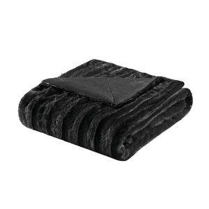 NEW Black Madison Park Faux Fur Throw